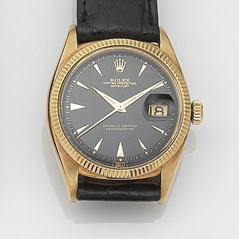 Rolex. An 18ct gold automatic calendar wristwatch Datejust, Ref:6305, Serial No.497**, Movement No.837**, Circa 1955