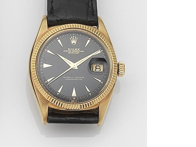 Rolex. An 18ct gold automatic calendar wristwatch Datejust, Ref:6305, Serial No.497**, Movement No.837**, Circa 1955