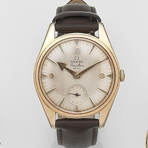 Omega. A pink gold plated manual wind wristwatch Ranchero, Movement No.16610642, Circa 1958