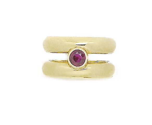 A gold and ruby 'Twain' ring, by Theo Fennell