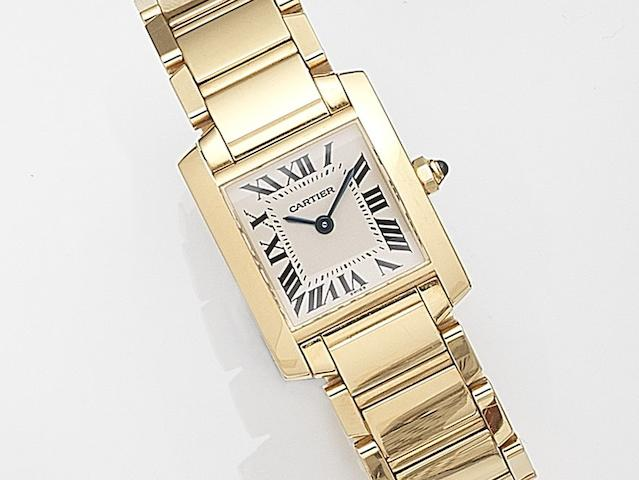 Cartier. A lady's 18ct gold quartz bracelet watch Tank Francaise, Ref:2385, Case No.CC878373, Circa 2003