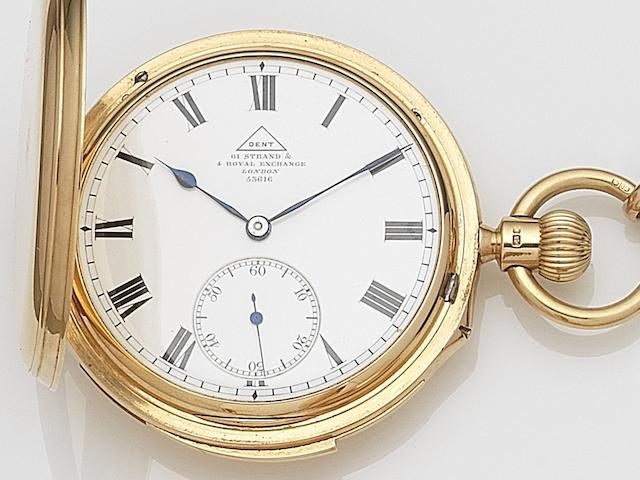 Dent. An 18ct gold keyless wind full hunter minute repeating pocket watch Case, Dial and Movement No.53616, London Hallmark for 1822