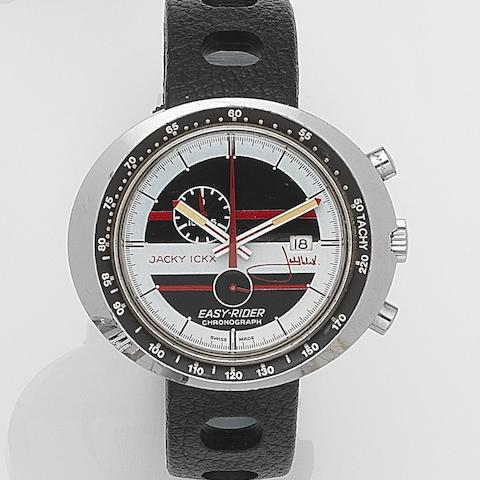 Heuer. A chrome plated steel manual wind calendar chronograph wristwatch Jacky Ickx Easy-Rider, Ref:429801, Circa 1972