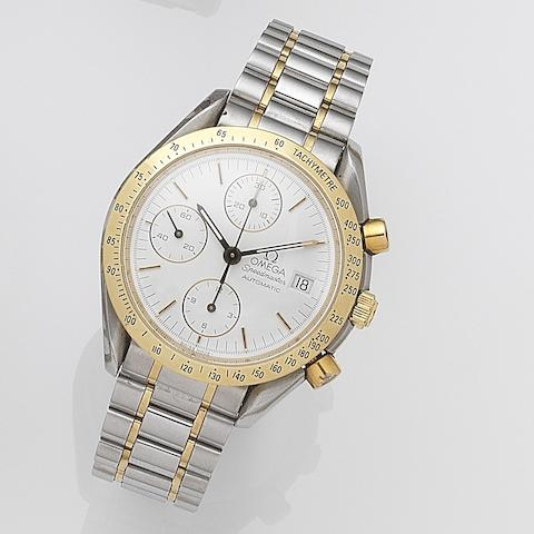 Omega. A stainless steel and gold automatic calendar chronograph bracelet watch Speedmaster, Ref:3570.50.00, Case No.77013947, Sold 5th April 2001