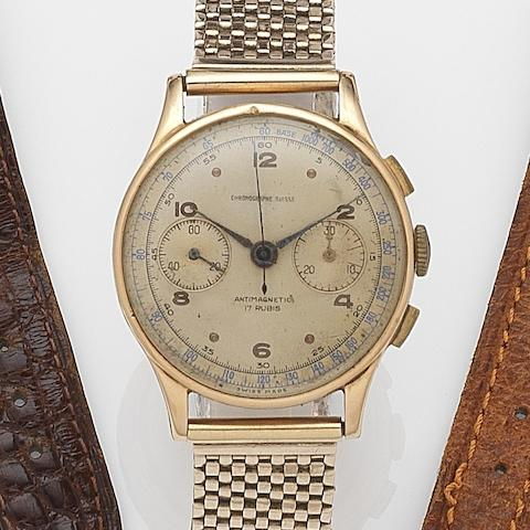 Chronographe Suisse. An 18ct gold manual wind chronograph bracelet watch Case and Cap No.137, Circa 1950