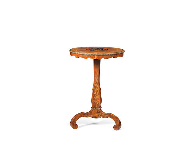 An early Victorian walnut and floral marquetry occasional table  in the manner of Edward Holmes Baldock