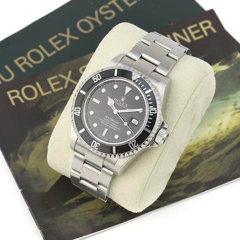 Rolex. A stainless steel automatic calendar bracelet watch Sea-Dweller, Ref:16600, Serial No.Z66****, Movement No.315*****, Sold 8th August 2008