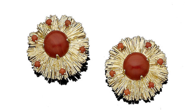 A pair of coral earclips, by Chaumet,