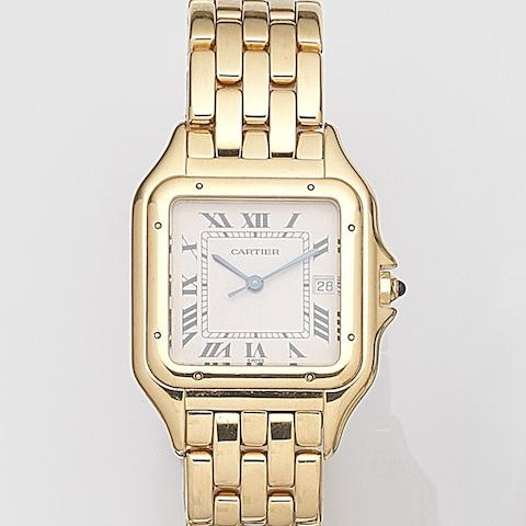 Cartier. An 18ct gold quartz calendar bracelet watch Panthere, Case No.8839680567, Circa 1990