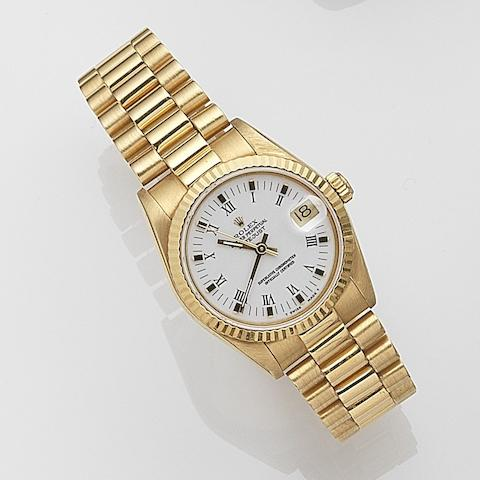 Rolex. An 18ct gold automatic calendar bracelet watch  Datejust, Ref:68278, Serial No.979****, Movement No.069****, Sold 20th February 1988