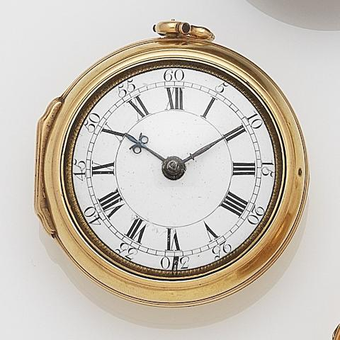 Windmills, London. A 22ct gold key wind pair case pocket watchCase and Movement No.8889, London Hallmark for 1730