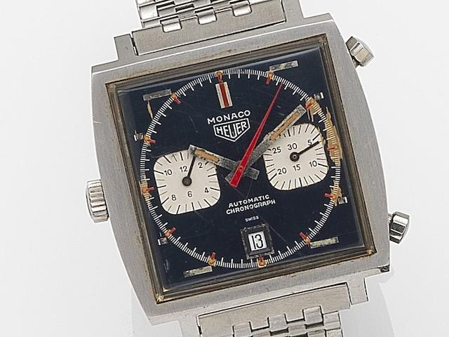 Heuer. A stainless steel automatic calendar chronograph bracelet watch  Monaco, Ref:1133, Case No.157352, Circa 1970