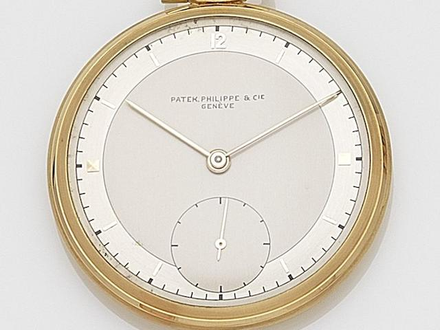 Patek Philippe. An 18ct gold keyless wind open face pocket watch  Ref:65634, Case No.506658, Movement No.880875, Circa 1960