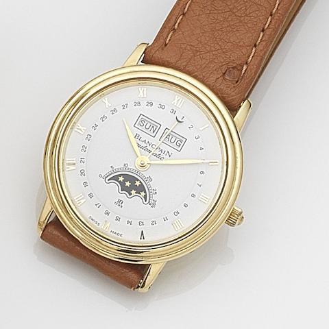 Blancpain. An 18ct gold automatic calendar wristwatch with moonphase No.1024, Circa 1985