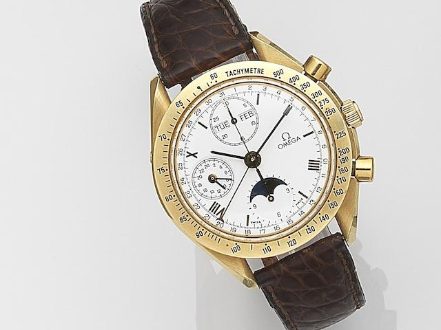 Omega. An 18ct gold automatic calendar chronograph wristwatch with moonphase Speedmaster, Ref:BA175 0034, Case No.51681092, Circa 1998
