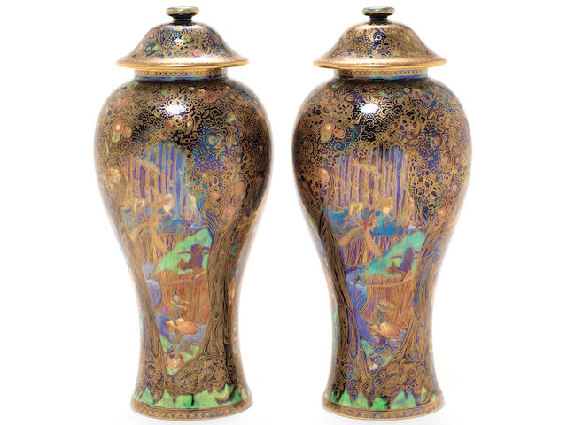Daisy Makeig-Jones for Wedgwood 'Jewelled Tree' a Pair of Fairyland Lustre Vases and Covers, circa 1920