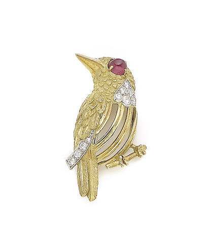 A ruby and diamond-set bird brooch, by Cartier,