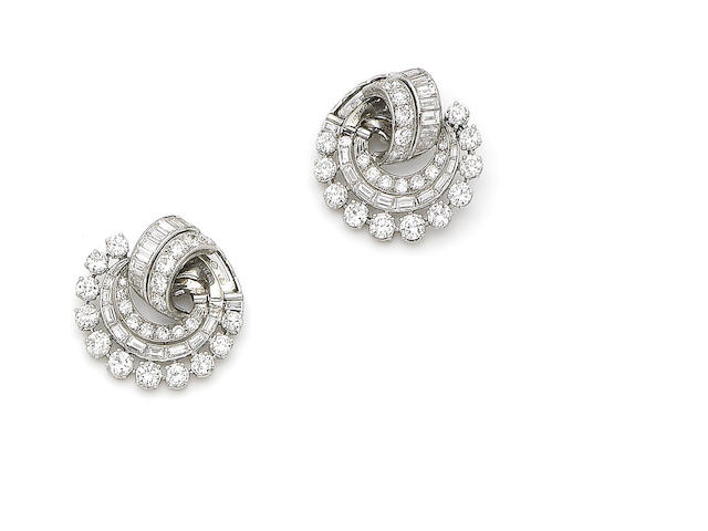 A pair of art deco diamond earclips, by Lacloche Frères,