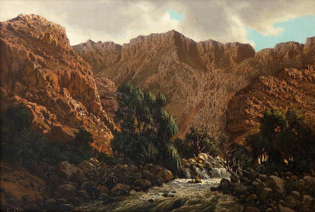 Marthinus (Tinus) Johannes de Jongh (South African, 1885-1942) Mountainous landscape