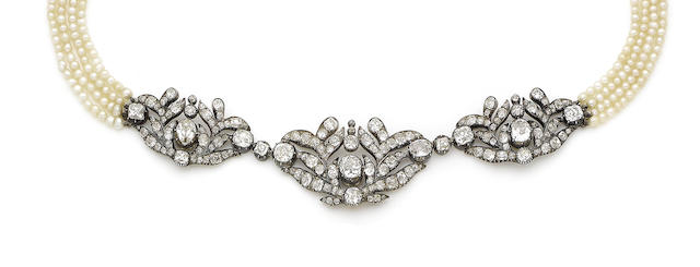 A mid 19th century and later pearl and diamond choker
