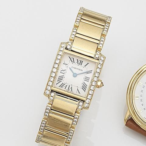 Cartier. A lady's 18ct gold and diamond set quartz bracelet watch  Tank Française, Ref:2385, Case No.91145OCD, Sold 26th January 2005