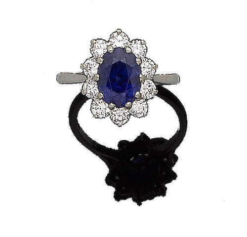 A sapphire and diamond cluster ring, by Boodles