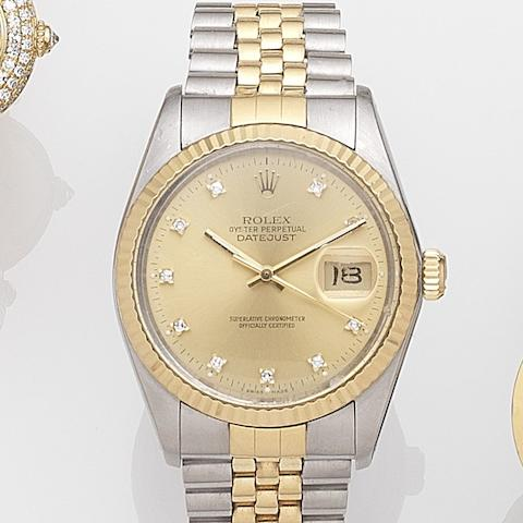 Rolex. A stainless steel and gold automatic calendar bracelet watch Datejust, Ref:16013, Serial No.R52****, Movement No.197****, Sold 31st March 1990