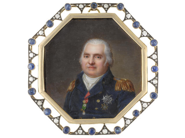 Jean Baptiste Jacques Augustin (French, 1759-1832) Louis XVIII (1755–1824), King of France and Navarre (1814-1824), wearing blue double-breasted coat with gold epaulettes, breast star of the Order of Saint-Esprit, breast star and badge of The Order of St. Lazarus and Our Lady of Mount Carmel and the badge of The Royal French Order of Saint-Louis suspended from a red ribbon, white waistcoat, stock and chemise, his cropped hair powdered