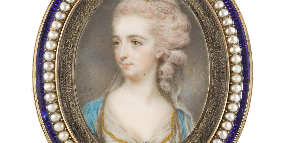 John Smart (British, 1742-1811) The Hon. Mrs Baldwin, wearing white dress edged with gold, sapphire and pearl brooch at her corsage, her fur-trimmed turquoise cloak draped over her shoulders, her powdered hair rolled, plaited and upswept beneath a white veil secured with a gold comb
