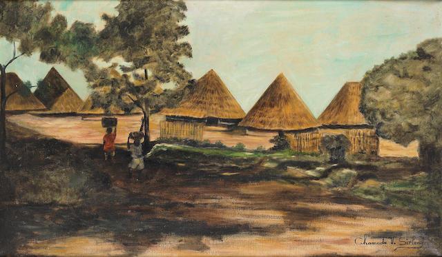 Ahamadu Varfee Sirleaf (Liberian, 1904-1971) 'Entrance to Town Dougomai'