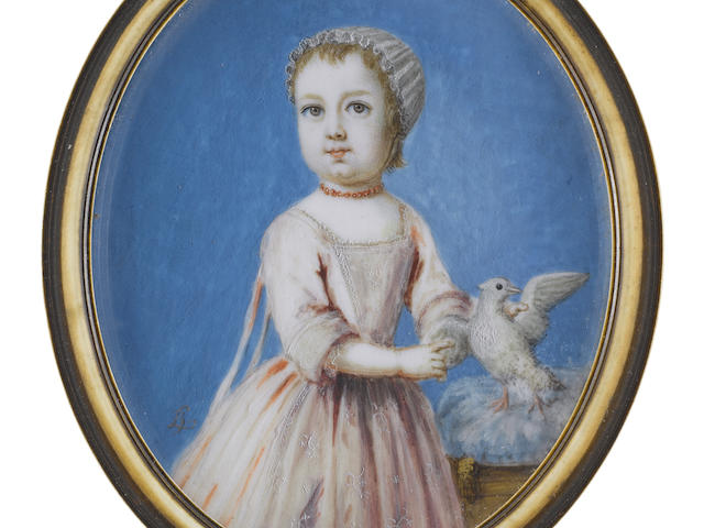Bernard Lens (British, 1682-1740) Charles Whitmore (1718-1770), aged 1, holding a dove upon a blue cushion with gold tassels, wearing pink dress, coral beaded necklace and white cap