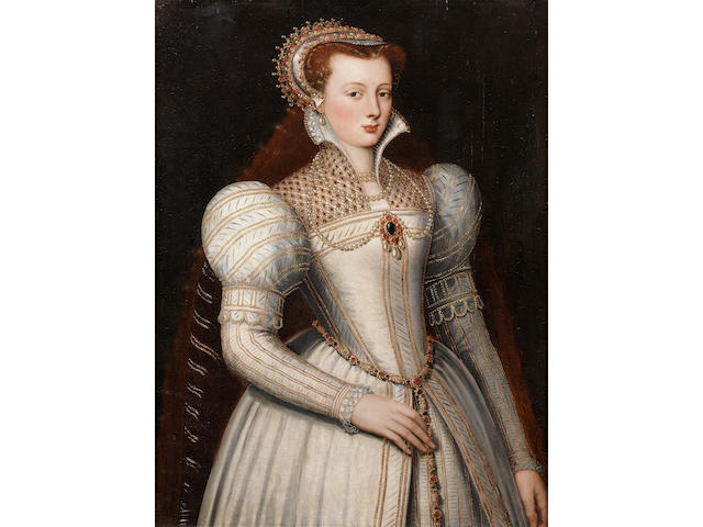 Circle of Frans Pourbus the Younger (Antwerp 1569-1622 Paris) Portrait of lady, half-length, in white bejewelled dress and headress