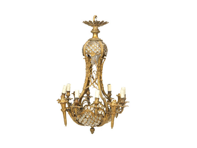 A late 19th / early 20th century French gilt bronze and gilt glass twelve light plafonnier electrolierin the Louis XVI taste