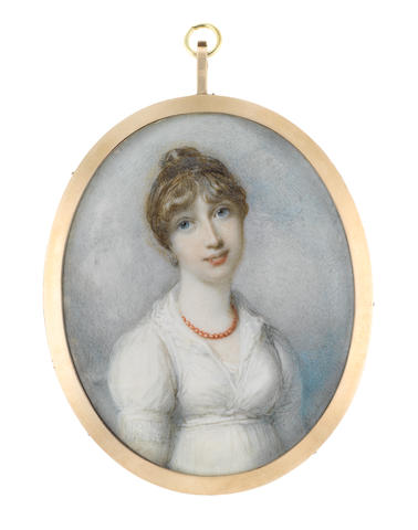 Richard Cosway, R.A. (British, 1742-1821) Lady Mary Henrietta Juliana Pelham née Osborne, Countess of Chichester  (1776-1862), wearing white dress with frilled collar, coral beaded necklace, her brown hair upswept