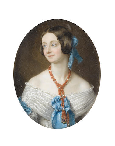 Sir William Charles Ross, RA (British, 1794-1860) A Lady called, Mrs Ackland, wearing white décolleté dress finished with blue sash ribbon and pleated panels edged with lace trim to her bodice, strands of coral and pearls suspended from her neck, her brown hair upswept and dressed with blue ribbon