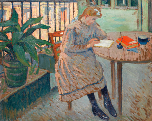 Louis Charlot (French, 1878-1951) Girl reading on a shaded balcony