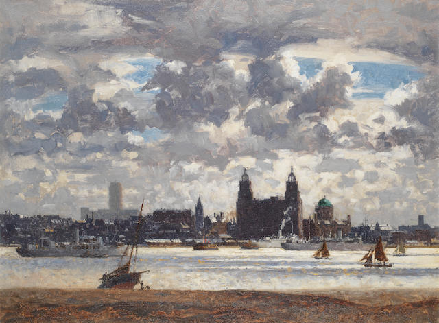 Norman Wilkinson (British, 1878-1971) Shipping on the Mersey, before the Liverpool waterfront