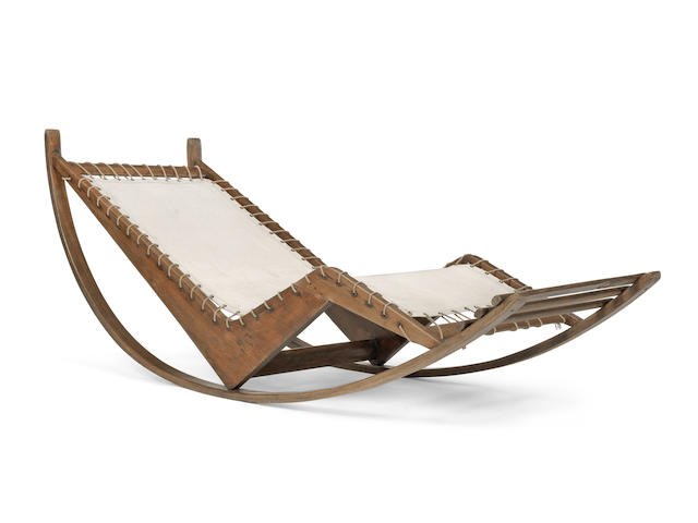 Franco Albini PS16 Rocking Chaise circa 1945 elm, fabric, metal rings and rope Height: 70 cm. 27 9/16 in. Length: 176 cm. approx. 69 5/16 in. approx