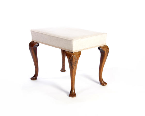 A George II style walnut stool Late 19th century