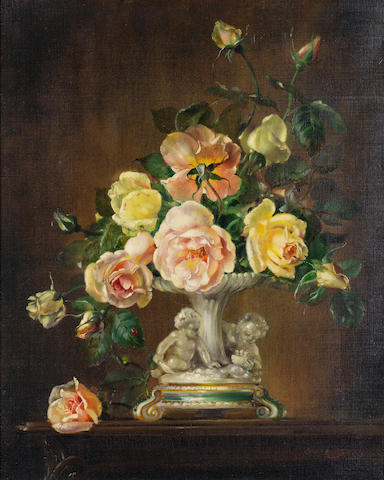 Cecil Kennedy (British, 1905-1997) Yellow and pink roses