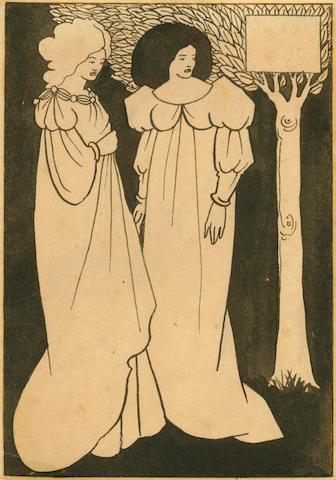 BEARDSLEY (AUBREY) Autograph black-and-white drawing of two fin-de-siècle women in flowing dresses, against a black background, standing by a tree, [chapter-heading for Le Morte Darthur, Volume II, Chapter III, Book XVI],  [1893-1894]