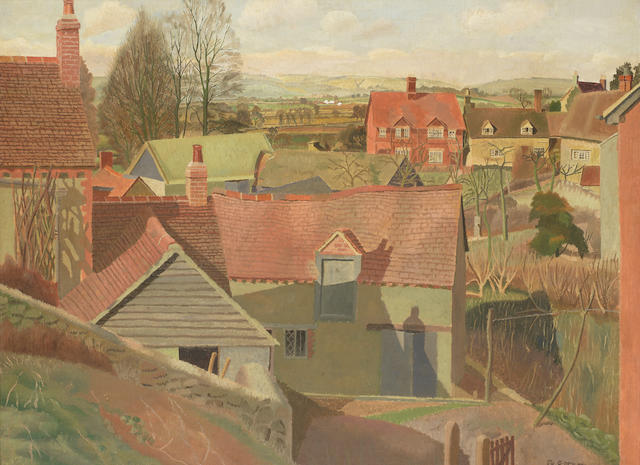 Gilbert Spencer R.A. (British, 1892-1979) Garsington Roofs
