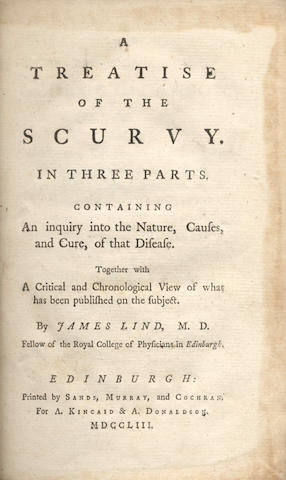 LIND (JAMES) A Treatise of the Scurvy, FIRST EDITION, Edinburgh, A. Kincaid & A. Donaldson, 1753