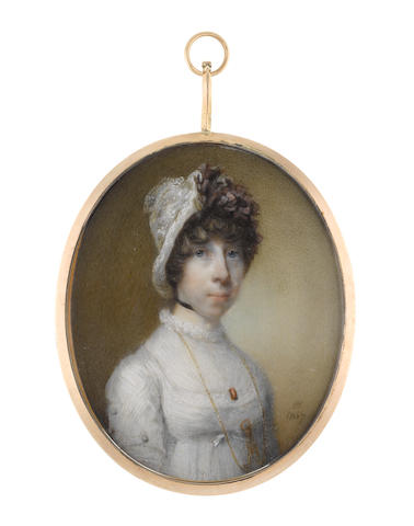 Horace Hone, ARA (Irish, circa 1756-1825) A Lady, wearing white dress with lace trim and fill-in with frilled collar, her gold monocle on a long gold chain suspended from her neck and secured beneath her bust, a rectangular cameo framed within a tortoiseshell border at her corsage, black ribbon choker, her brown hair curled and upswept beneath a white lace bonnet dressed with aubergine ribbon