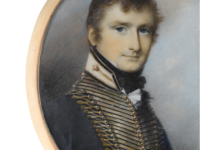 George Engleheart (British, 1750-1829) Captain Henry Beauchamp Lygon, later 4th Earl Beauchamp DL, MP (1784–1863), wearing blue coat with gold lace and white standing collar edged with blue and gold, white frilled chemise and black stock