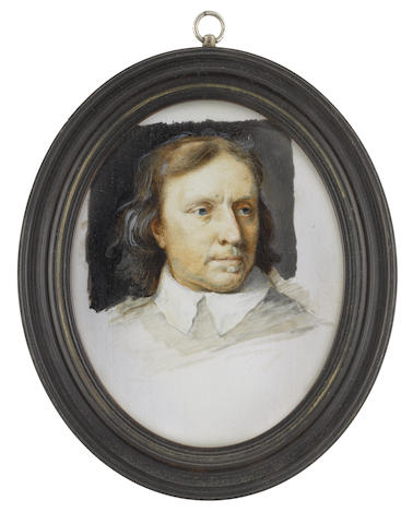 Michael Bartlett, VPSLm, VPRMS, HS (British, 1922-2008), after Samuel Cooper (1609-1672) Oliver Cromwell (1599-1658), Lord Protector of England, Scotland and Ireland (1653-1658), wearing white collar