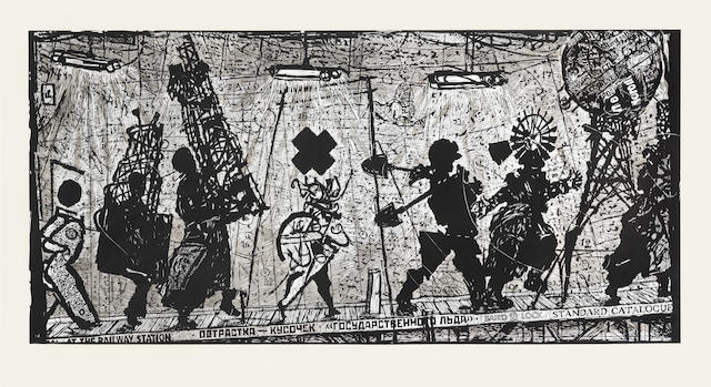 William Joseph Kentridge (South African, born 1955) Eight Figures 104 x 200cm (40 15/16 x 78 3/4in).(sheet size)