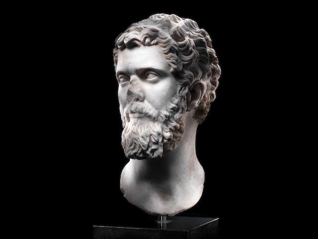 A Roman marble portrait head of the Emperor Septimius Severus