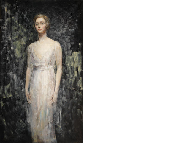 Ambrose McEvoy (British, 1878-1927) Portrait of a Lady, full length, in a white gown
