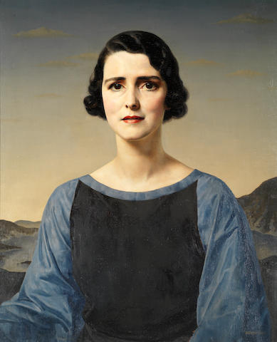 Gerald Leslie Brockhurst (British, 1890-1978) Portrait of a Lady, bust length, in a blue and black dress, in a lake landscape